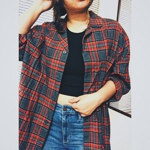 Nordstrom Red Oversized Plaid Flannel